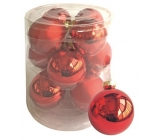 Red glass flasks set 5.7 cm, 12 pieces