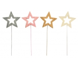 Star wooden recess 8 cm + wire 1 piece
