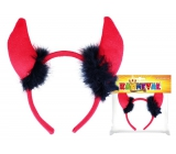 Devil horns headband fabric with feathers
