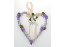 Heart wicker with lavender for hanging 21 cm