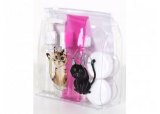 Albi Original Travel Bottle Set 3 x 80 ml + 2 cups + Cat Case - 15 cm x 15 cm x 4.5 cm