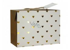 Angel Bag gift box, closable, with golden hearts 18 x 12 x 9 cm
