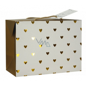Gift paper bag box 18 x 12 x 9 cm lockable, with golden hearts