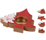 Emocio Wooden candle holder for tea candle 12 cm, mix of shapes