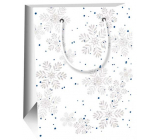 Ditipo Gift paper bag 11.5 x 6.5 x 14.5 cm white gray snowflakes E