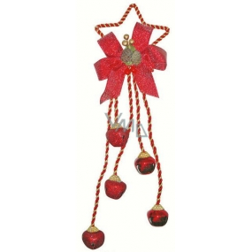 Five bells with star-metal decor, red 32cm