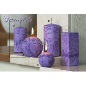 Lima Marble Lavender scented candle purple cylinder 50 x 100 mm 1 piece