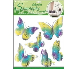 Room Decor Wall stickers yellow-blue butterflies with moving silver wings 39 x 30 cm