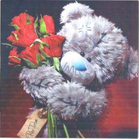 Me to You Blahopřání do obálky 3D Pro Tebe, Medvídek s růžemi 15,5 x 15,5 cm