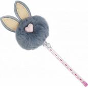 Albi Ballpoint pen with pompom Gray bunny