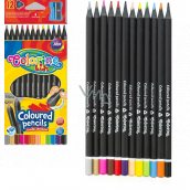 Colorino Triangular crayons, black wood, with sharpener 12 colors