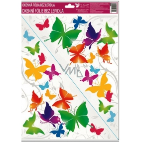 Room Decor Window foil without glue corner brightly colored butterflies No.2. 42 x 30 cm