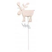 Wooden reindeer 8 cm white + wire