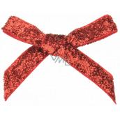 Velvet red glitter bow 8 cm 12 pieces