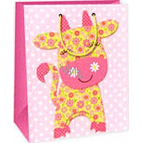 Ditipo Gift paper bag 26.4 x 13.7 x 32.4 cm pink cow AB