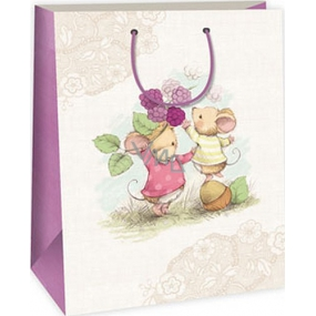 Ditipo Gift paper bag 32.4 x 10.2 x 44.5 cm white beige 2 mice