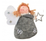 Knitted gray angel on standing 10 cm No.1