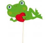 Zápich Žába ležící se srdíčkem 7 cm + špejle