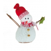 Snowman with tree on standing 15 cm