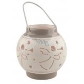 Ceramic lantern white-gray with an angel of 11.3 cm