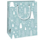 Ditipo Gift paper bag 11.5 x 6.5 x 14.5 cm light blue white trees