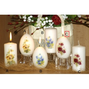 Lima Poppy scented candle white with decal egg 60 x 90 mm 1 piece