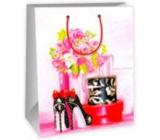 Ditipo Dárková papírová taška velká bílo růžová - kytka, puntíkové střevíčky 26,4 x 13,6 x 32,7 cm DAB