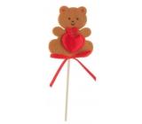 Felt teddy bear with heart brown recess 6.5 cm + skewers