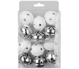 Rolls silver and white 4 cm, 12 pcs