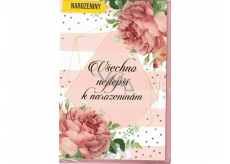 Nekupto Birthday card Pink flowers 115 x 170 mm 3561 F