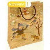 Nekupto Gift kraft bag 25 x 8 x 19 cm Christmas children in the snow 596 WKHM