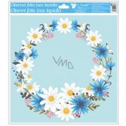 Window film with glitter flowers 33x30 cm flowers wreath