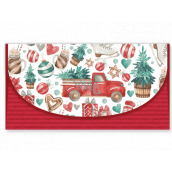 Nekupto Greeting card envelope for Christmas money Car with a tree 116 x 220 mm