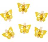 Dřevění motýli s kolíčkem žlutí 4 cm 6 kusů