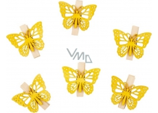 Butterflies wooden with a peg yellow 4 cm 6 pieces