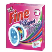 Well Done Fine Color Magnet & Stain Remover wipes that absorb color and remove stains in the washing of 12 pieces