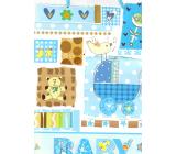 Nekupto Gift paper bag 32.5 x 26 x 13 cm Baby boy blue 1 piece 1561 40 KFL