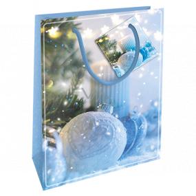Nekupto Gift paper bag 14 x 11 x 6.5 cm Christmas blue flask WBS 1921 40