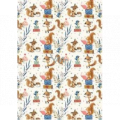 Ditipo Gift wrapping paper 70 x 100 cm White foxes, squirrels and blue birds 2 sheets