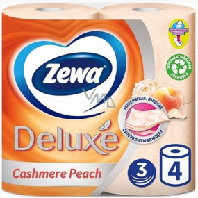Zewa Deluxe Aqua Tube Cashmere Peach Eau De Parfum Toilet Paper 3 Layers 150 Scraps 4 Pieces, Roll You Can Flush