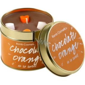 Bomb Cosmetics Chocolate Orange Scented natural, handmade candle in a tin can burns for up to 35 hours