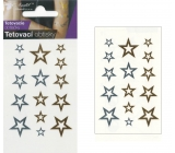 Tattoo decals gold and silver Stars 10.5 x 6 cm