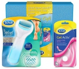 Scholl Velvet Smooth Premium Blue Electric Nail File with Sea Minerals + Scholl GelActiv Extremely High Heel Inserts 1 Pair, Gift Set