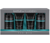 Baylis & Harding Jantar and Santal Wood Liquid Soap for Body & Hair 100 ml + Face Wash 100 ml + After Shave Balm 50 ml + Shower Gel 50 ml, Men's Cosmetic Set