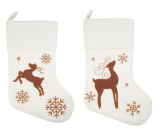 Cloth stocking Santa Claus with deer white 46 cm 1 piece