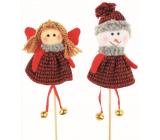 Knitted Angel groove, snowman 13 cm + skewers, 1 piece