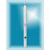 Lima Church baptismal candle white with silver decoration No. 1001 25 x 360 mm 1 piece