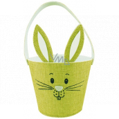 Basket textile bunny with ears green 15 x 12 cm