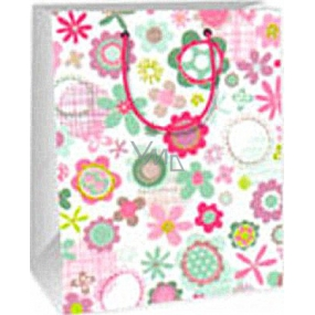 Ditipo Gift paper bag 18 x 10 x 22.7 cm white pink and green flowers