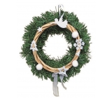 Wreath with white decor for hanging 25 cm